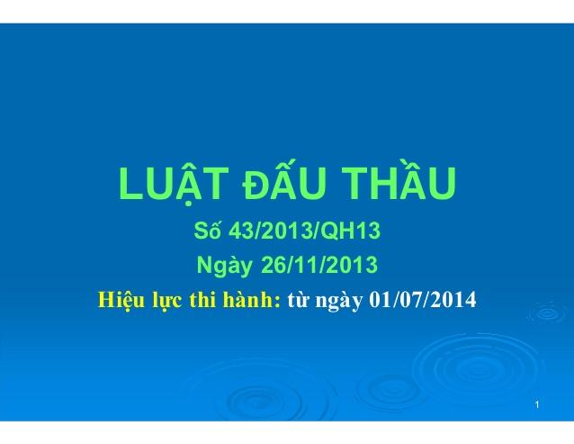 Luật đấu thầu số 43/2013/QH13 ngày 26/11/2013